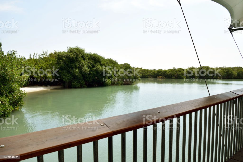 A Lagoon in Harvest Caye stock photo