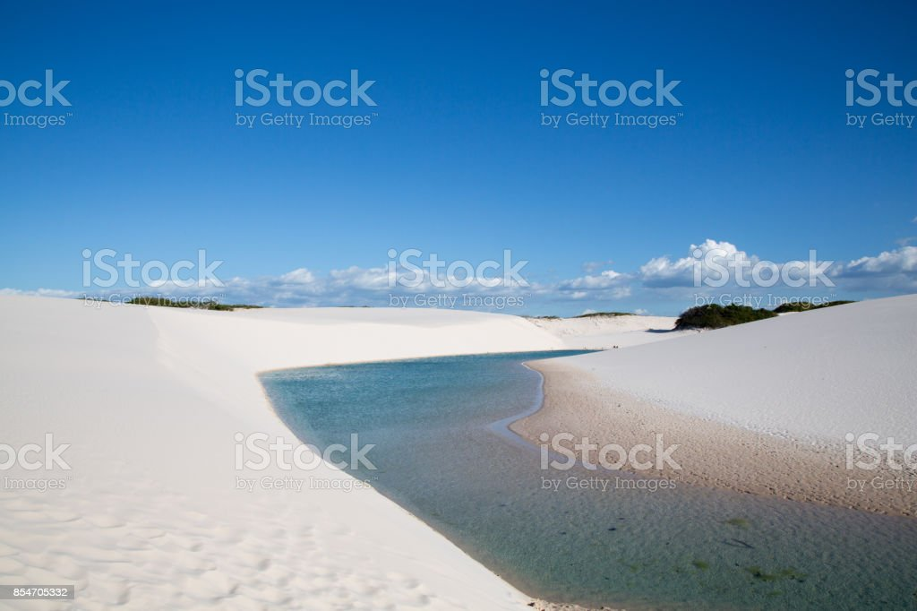 Lagoon in the lençois maranhenses stock photo