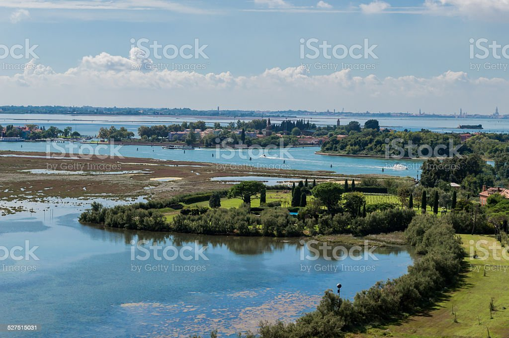 Lagoon of Venice, view from the belfry of Torcello stock photo