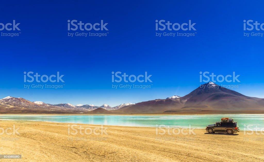 Lagoon Verde in the Altiplano of Bolivia stock photo