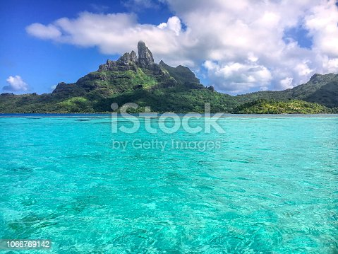 View from our boat in Bora Bora's lagoon. French Polynesia, South Pacific Ocean.