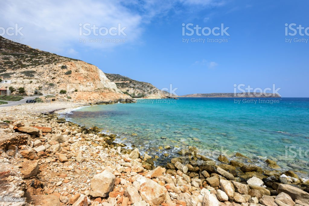 Lagoon with clear blue water at Crete island photo libre de droits