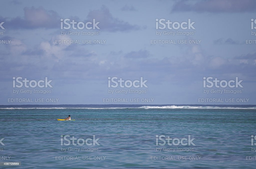Lagoon with Coral Reef and Sea Kayak royalty-free stock photo