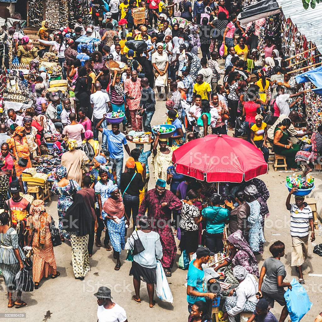 Lagos downtown market streets. stock photo