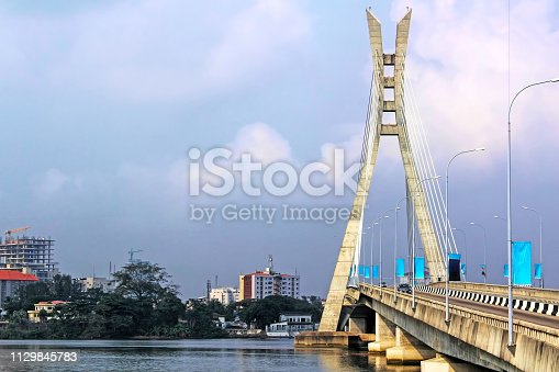 View of the Lekki-Ikoyi Link Bridge, a landmark in Lagos, Nigeria - Infrastructure and Transportation. West Africa.
