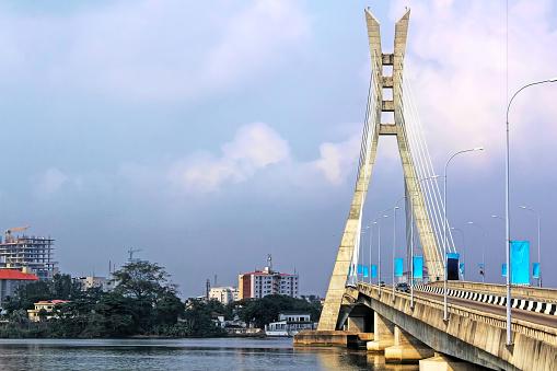 View of the Lekki-Ikoyi Link Bridge, a landmark in Lagos, Nigeria - Infrastructure and Transportation. West Africa.