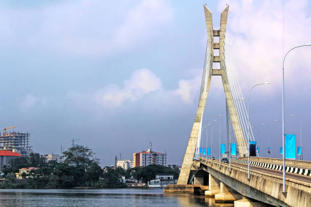 Lagos, Nigeria; Lekki-Ikoyi Bridge - Lagos Landmark - Infrastructure and Urban Transportation stock photo