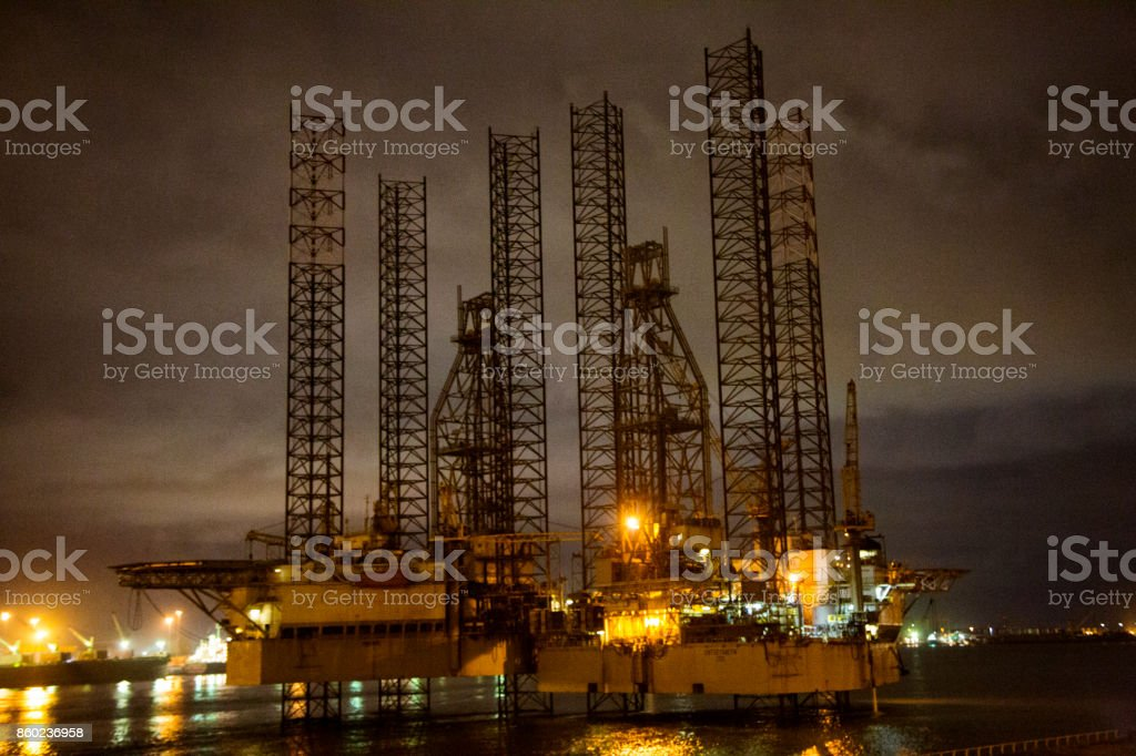 Lagos Offshore oil rig at night stock photo