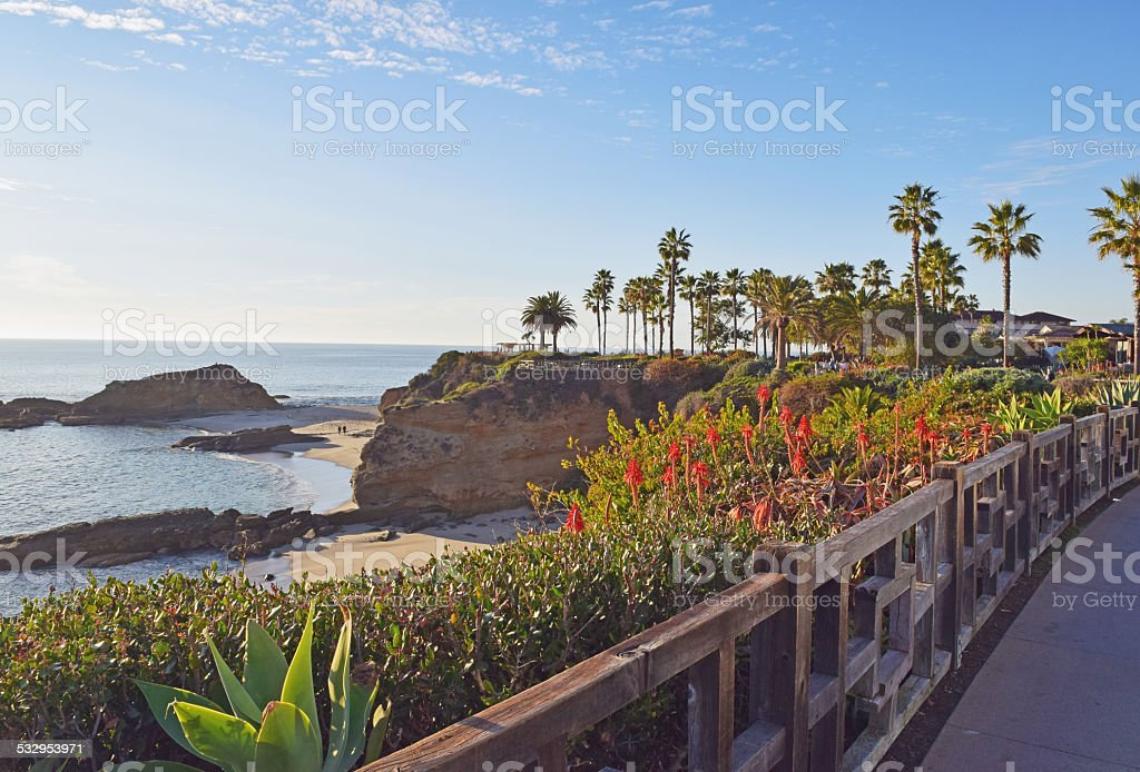 Laguna Beach Coastline & Gardens stock photo