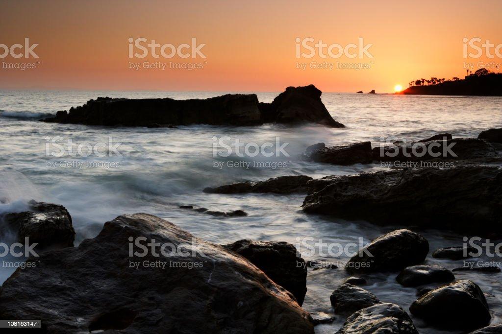 Laguna Beach Coastline Sunset royalty-free stock photo
