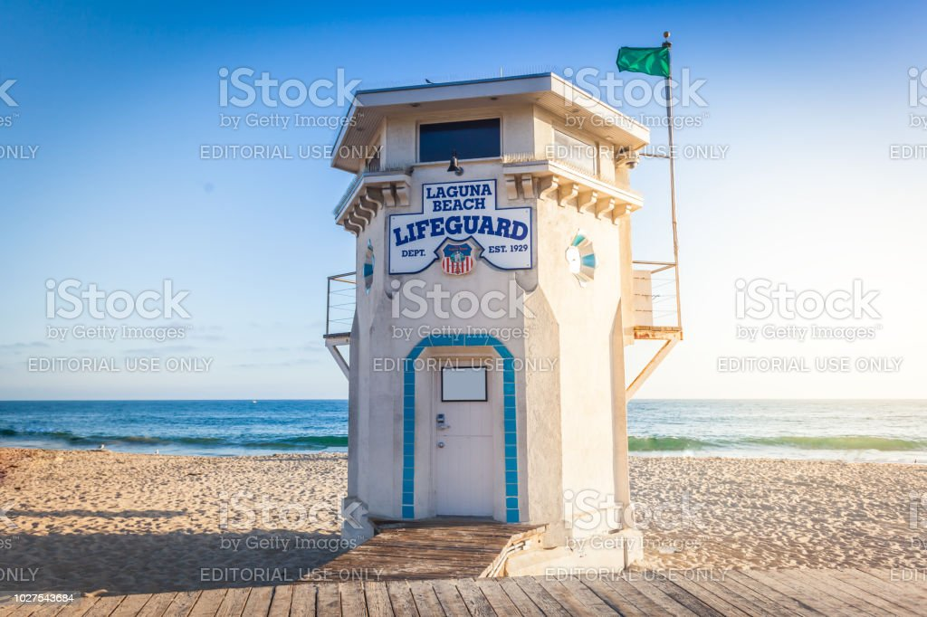 Laguna Beach lifeguard tower Laguna Beach, California - August 8, 2017: famous Laguna Beach lifeguard tower in sunset light on a Main beach Architecture Stock Photo