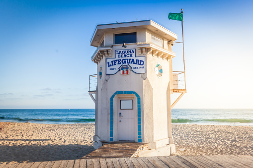 Laguna Beach Lifeguard Tower Stock Photo - Download Image Now
