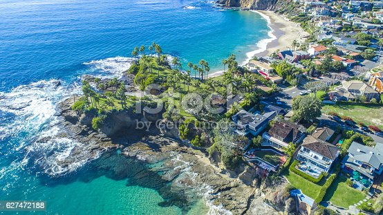 A view of Shaw's Cove and Crescent Bay in Laguna Beach, Southern California. Laguna Beach is a beach community that is a popular tourism destination and is located in Orange County.