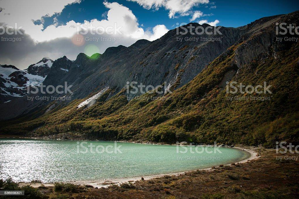 laguna esmeralda en ushuaia argentina - foto de stock