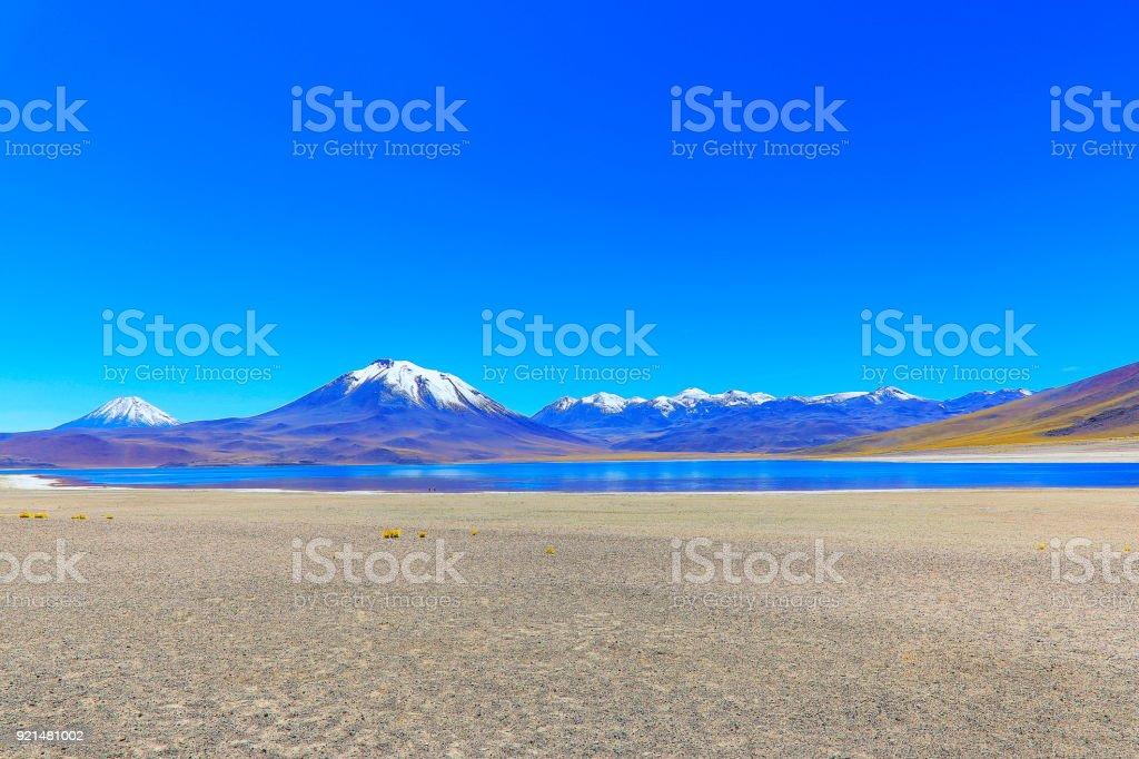 Laguna Miscanti - Turquoise lake in Atacama Desert, Volcanic landscape - Chile stock photo