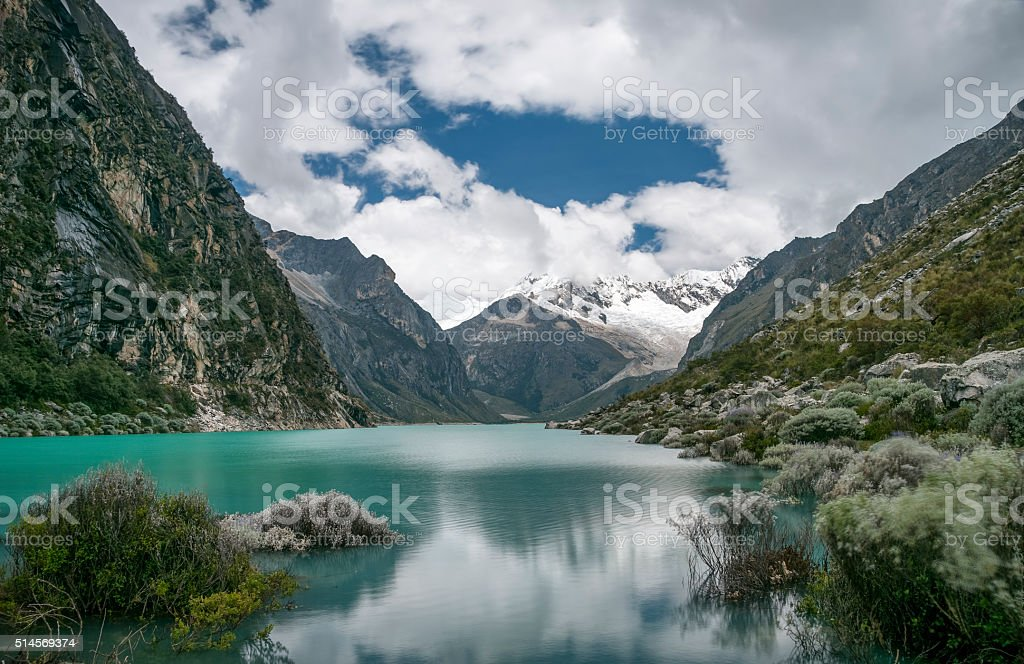 Laguna Paron And Piramide Peak In The Peruvian Andes stock photo