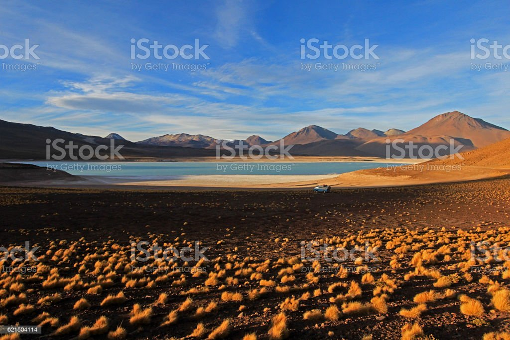 Laguna verde, green lagoon in Bolivia stock photo