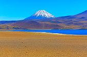 Lagunas Miñiques and Miscanti - Lakes and snowcapped Volcanoes mountains - Turquoise lakes and Idyllic Atacama Desert, Volcanic landscape panorama – San Pedro de Atacama, Chile, Bolívia and Argentina border