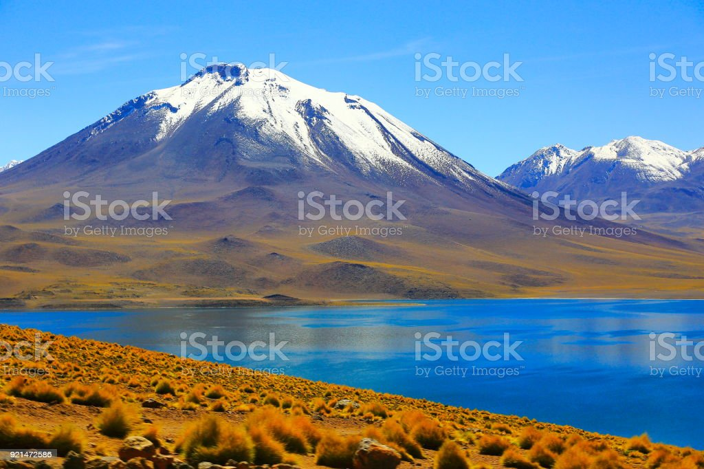 Lagunas Miñiques and Miscanti - Turquoise lake in volcanic Atacama Desert - Chile stock photo