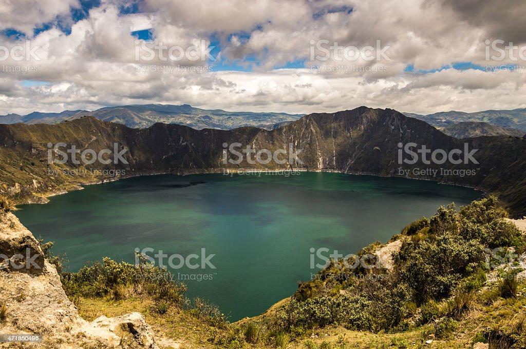 Laguno Quliotoa - enormous lake in the crater. stock photo
