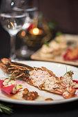 Lagustine tartare closeup. Tasty restaurant dish