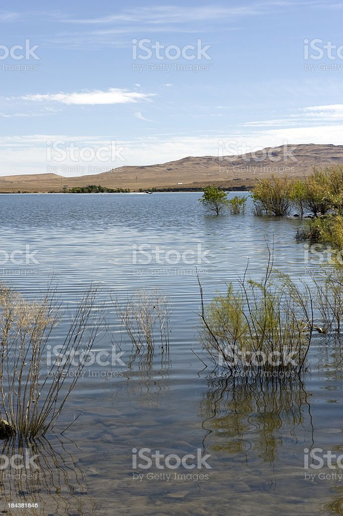 Lahontan Reservoir with Reflection royalty-free stock photo