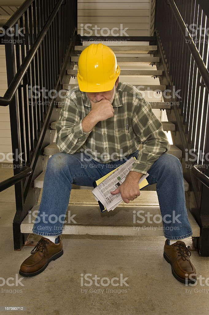 Laid Off Construction Worker stock photo