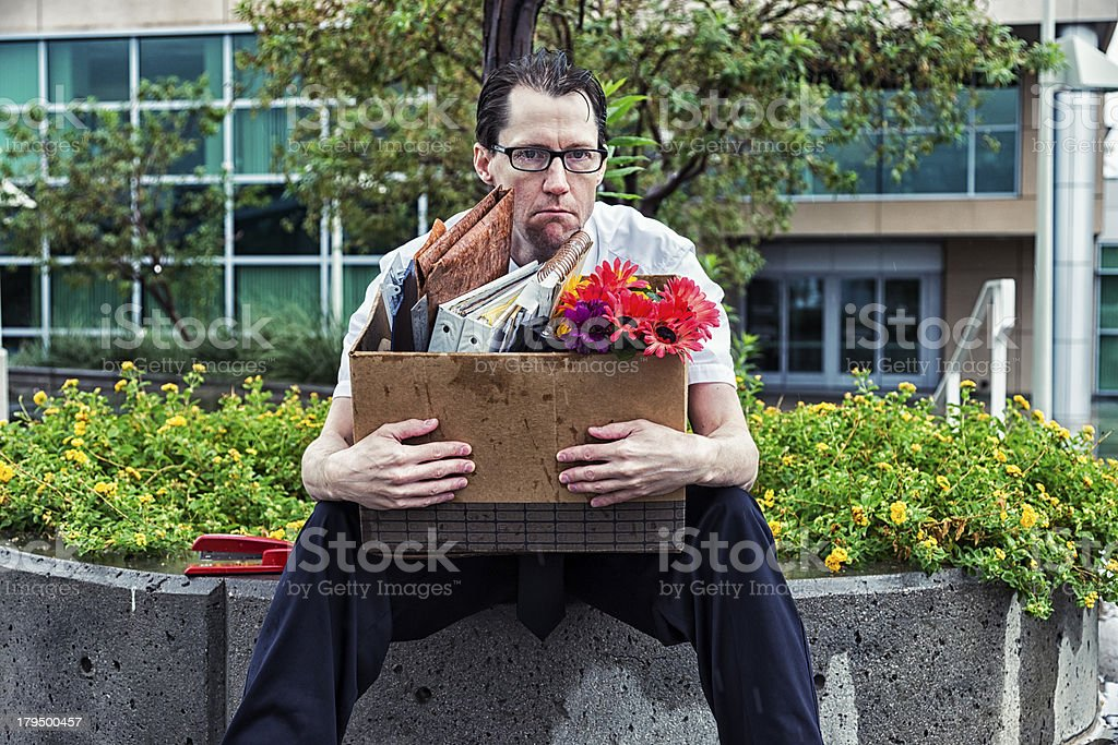 Laid Off: Unemployed Businessman royalty-free stock photo