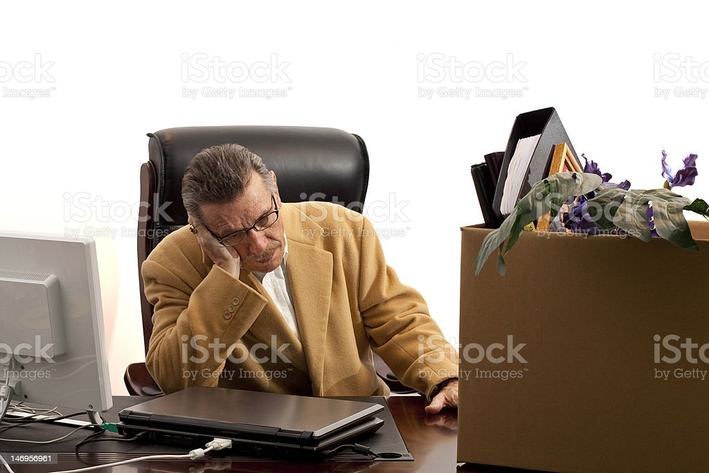 Laid off-Head in hand stock photo