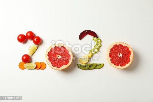 2020 laid out of fruits and vegetables on white background, copy space