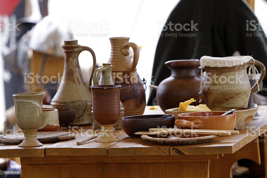 Laid table on a medieval market stock photo
