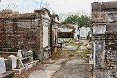 Shot of tombstones in a graveyard