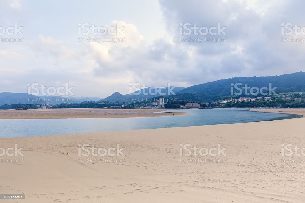 Laida beach in Biscay province, Basque Country, Spain stock photo