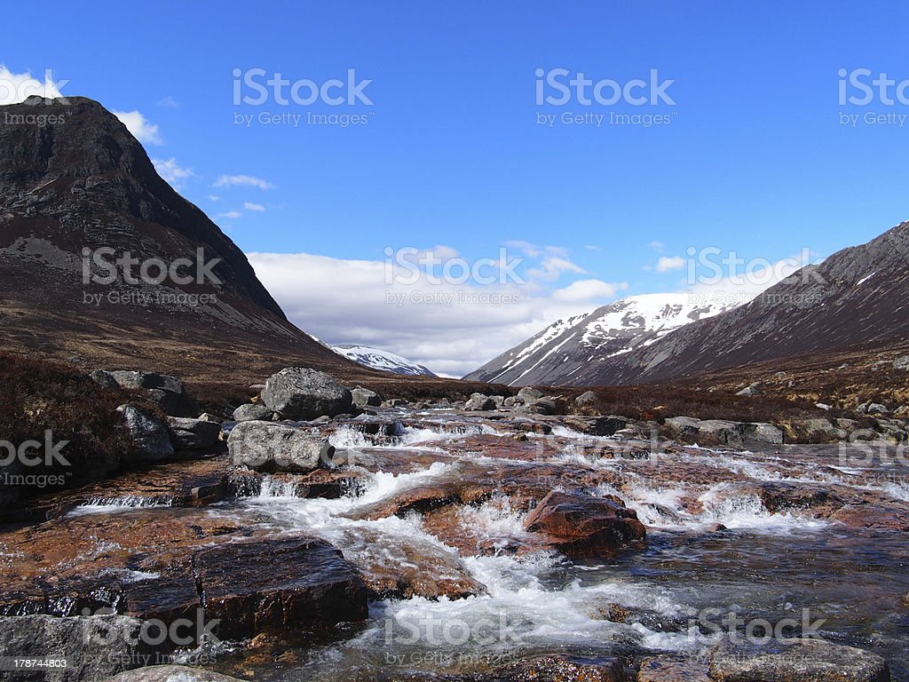 Lairig Ghru seen from river Dee, Scotland in may royalty-free stock photo