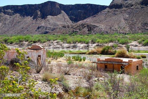 abandoned village (film set) at rio grande in texas