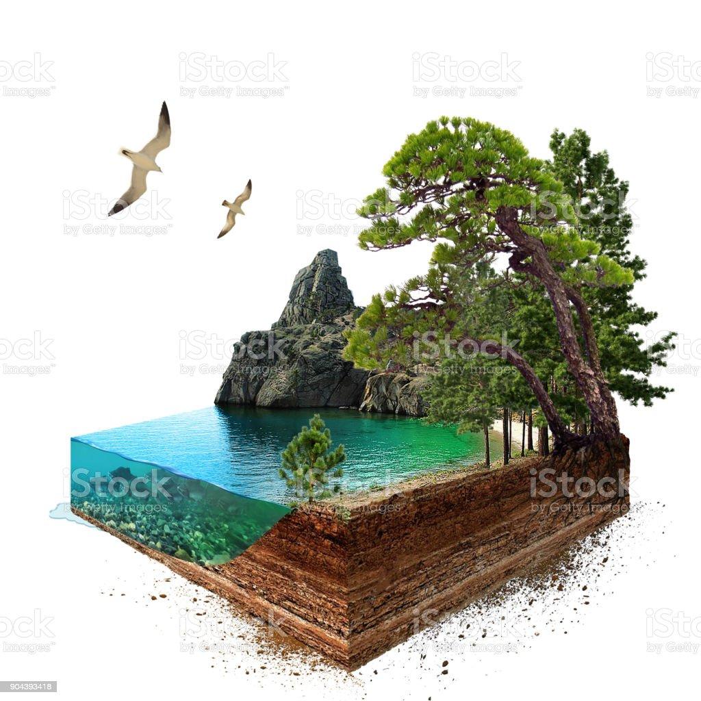 Lake. 3D Isometrisch foto