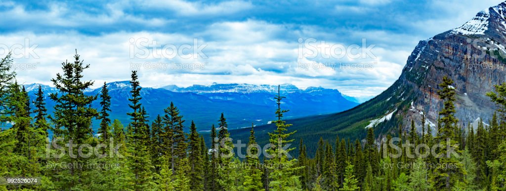 Lake Agnes hike with scenic landscape view across Canadian Rockies stock photo