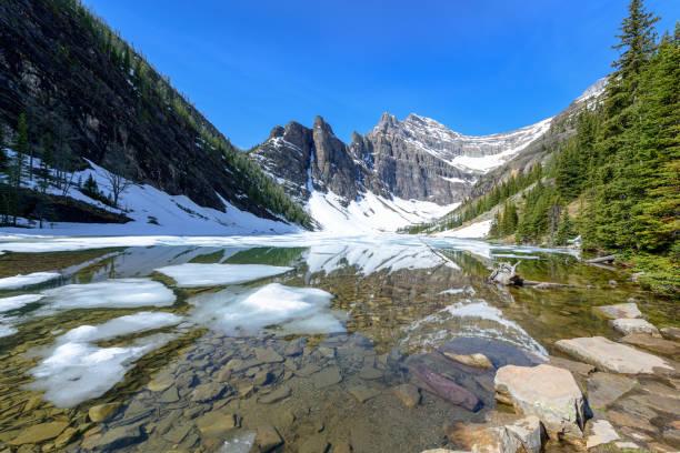 agnes lake avec réflexion, parc national banff, alberta, canada - lac mirror lake photos et images de collection