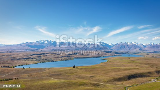 Panorama of Lake Alexandrina with view to Mt Dobson Ski Area Mountain Range from Mount John Observatory road in summer. Tekapo, Lake Alexandrina, South Island, New Zealand, Oceania.