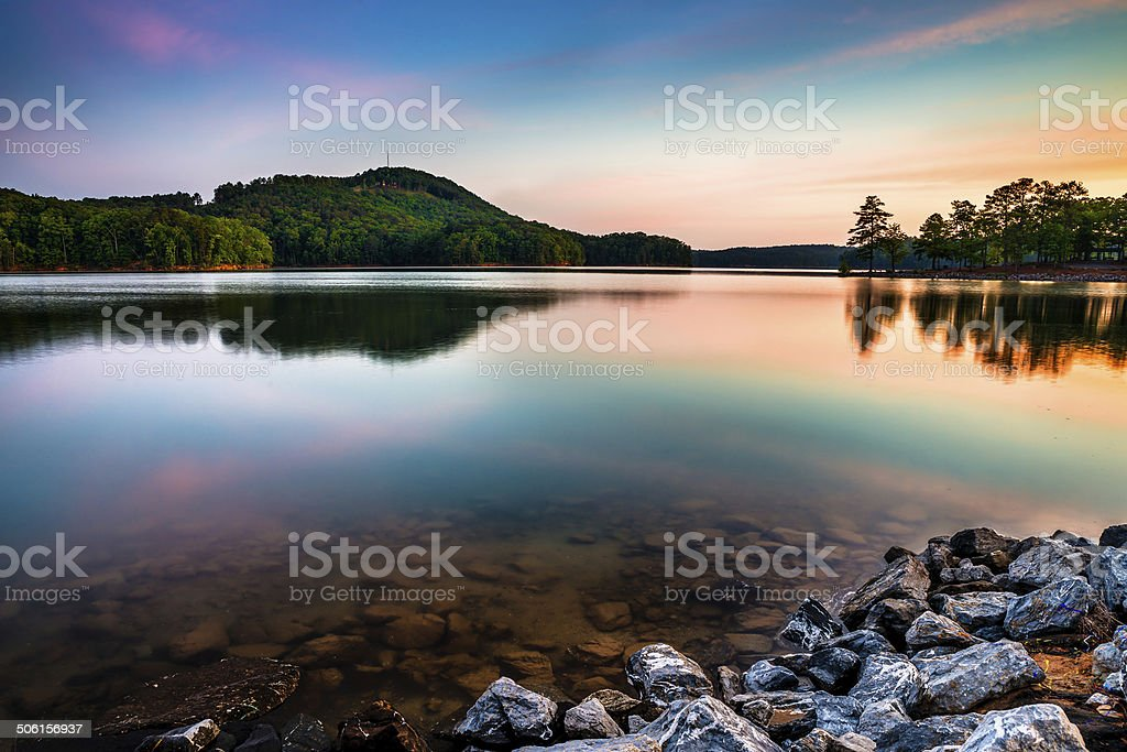 Lake Allatoona at Red Top Mountain State Park near Atlanta stock photo