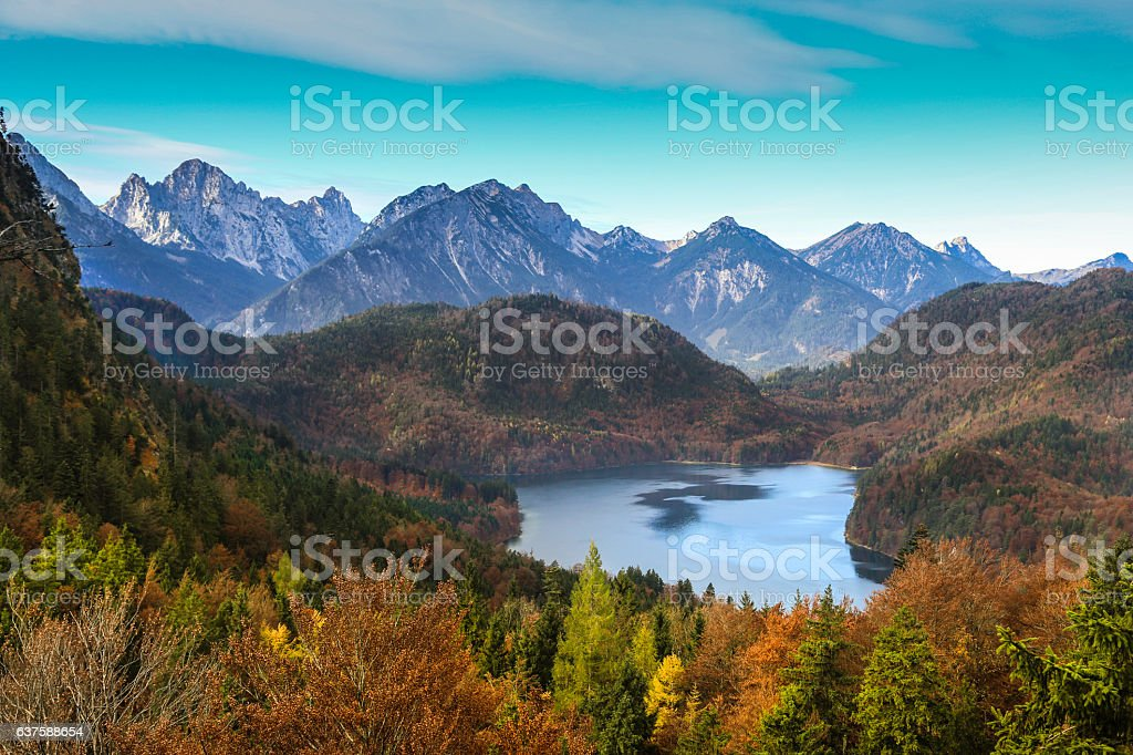 Lake Alpensee in autumn stock photo