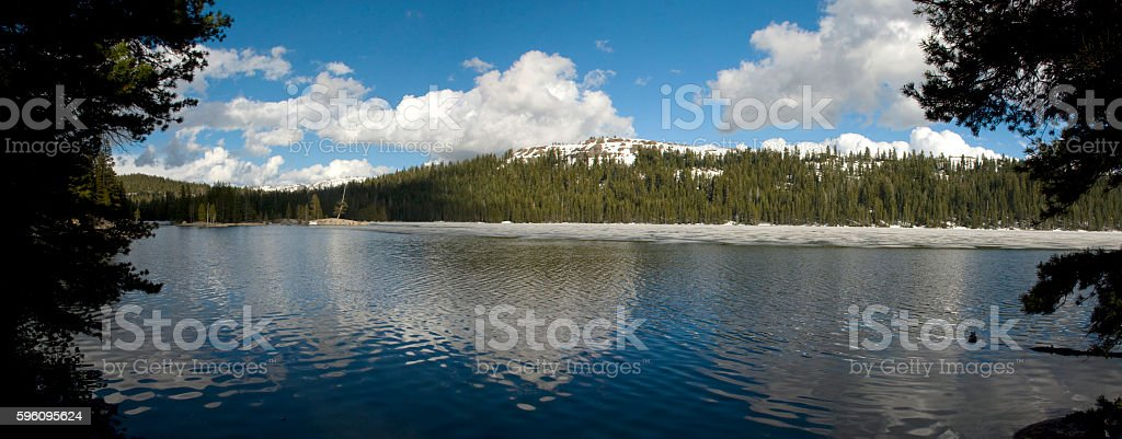 Lake Alpine on Ebbetts Pass partly covered with Ice royalty-free stock photo