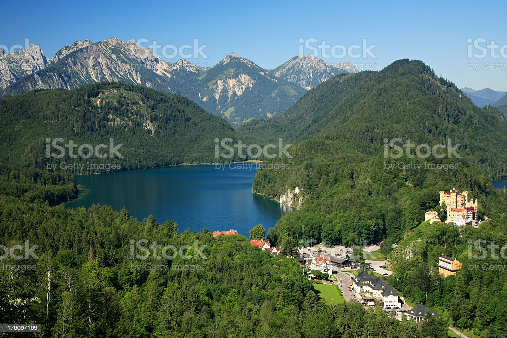Lake Alpsee and Hohenschwangau Castle royalty-free stock photo