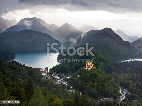 View from Neuschwanstein castle onto lake Alpsee and Hohenschwangau castle. Bavaria, Germany.