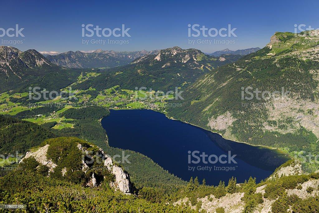 Lake Altaussee Panorama with Saarstein, Loser, Schafsberg, Glacier, Ausseerland, Salzkammergut stock photo