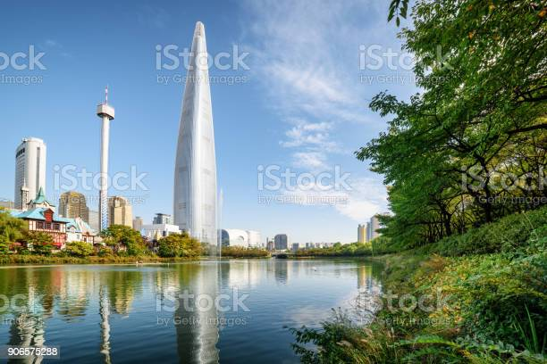 Lake Among Green Trees In Park At Downtown Of Seoul Stock Photo - Download Image Now