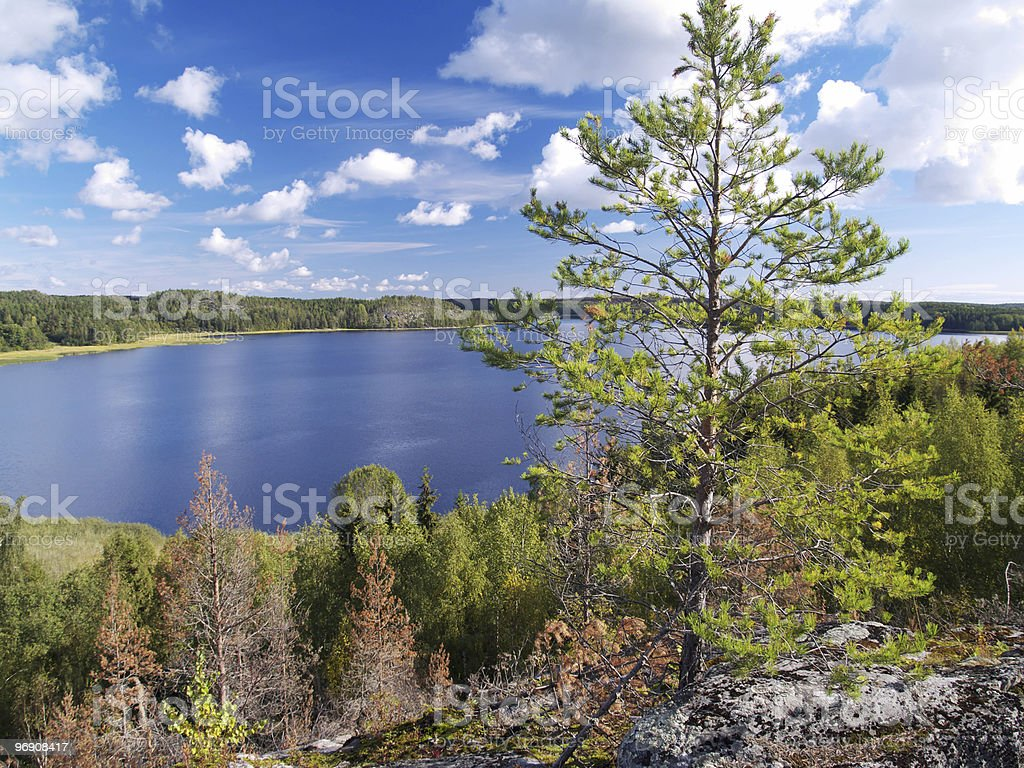 Lake and cloudy sky royalty-free stock photo