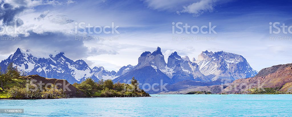 Lake and Cuernos del Paine, Torres del Paine, Patagonia, Chile stock photo
