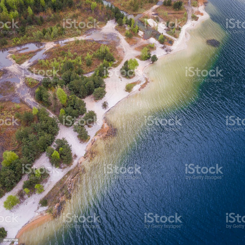 Lake and forest during spring time. View from above. Pogoria IV in Dabrowa Gornicza, Poland. stock photo