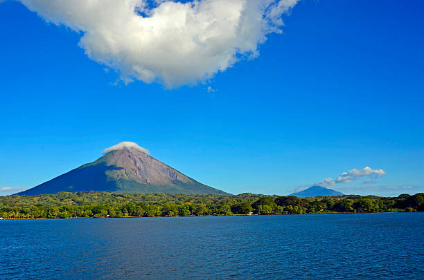 Lake and island Ometepe in Nicaragua stock photo